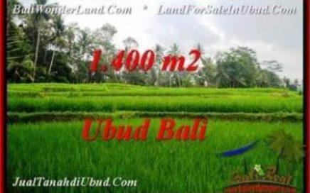 JUAL TANAH MURAH di UBUD 1,400 m2 View Sawah dan kebun
