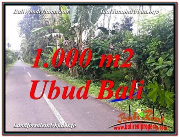 TANAH di UBUD JUAL 1,000 m2  View Kebun dan Pangkung