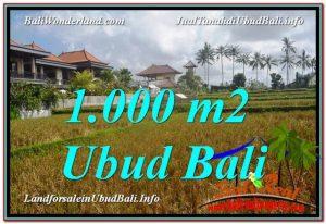 JUAL TANAH di UBUD BALI 1,000 m2 View Sawah lingkungan Villa