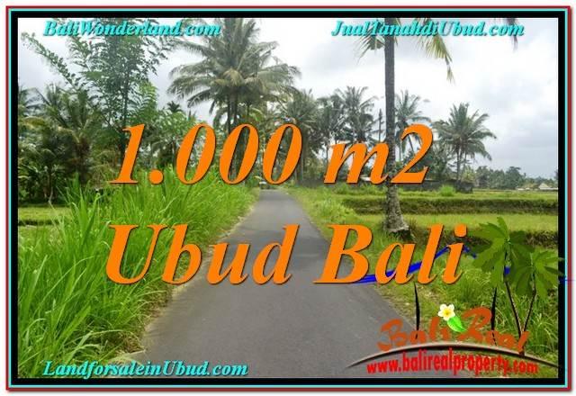 TANAH di UBUD JUAL 1,000 m2  View Sawah, Link. Villa