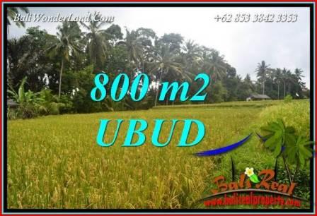 JUAL Murah Tanah di Ubud 800 m2 View sawah lingk. Villa