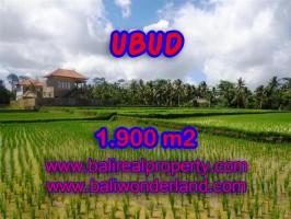 Tanah di Ubud dijual 1.900 m2 view sawah dekat sungai di Dekat sentral Ubud