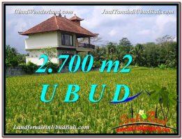 TANAH MURAH  di UBUD BALI DIJUAL 2,700 m2  View Sawah link Villa
